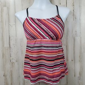 Nike Womens Tankini 10 Pink Striped Tie Back